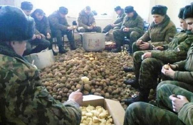 Военные чистят картошку